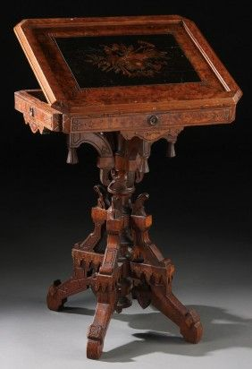 VICTORIAN EASTLAKE WALNUT MARQUETRY READING STAND