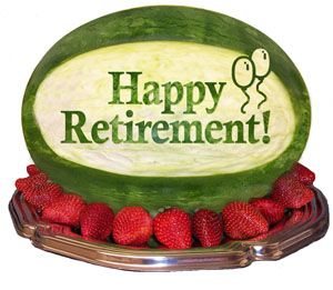 Happy Retirement Carved Watermelon Centerpiece