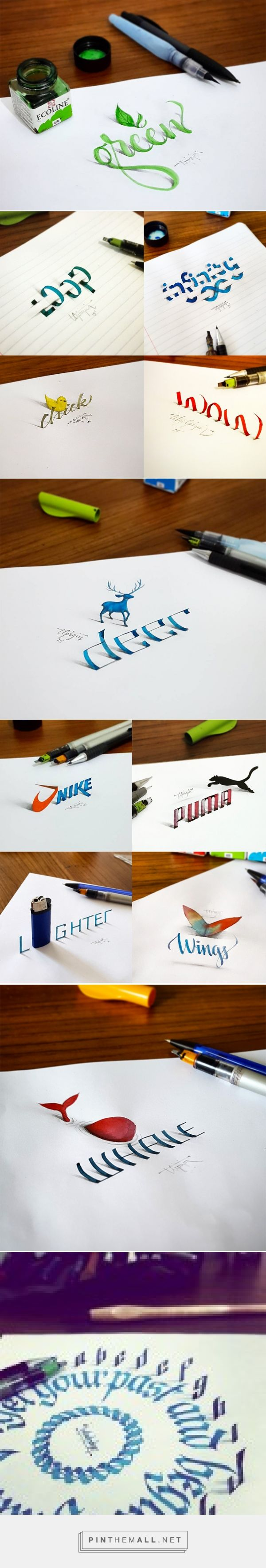 New 3D Calligraphy Exercises by Tolga Girgin | Colossal - created via https://pinthemall.net