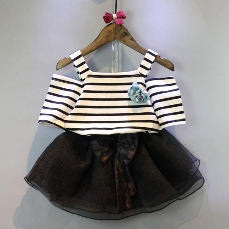 בגדי קיץ בנות תינוק חדש Stripped Vest בחולצת טריקו למעלה + חצאית שחורה עיצוב אופנה סט ילדה dress בנות ילדים 2 יחידות חליפת