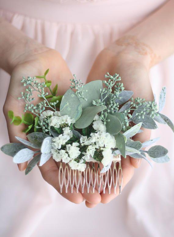 Eucalyptus hair comb green juicy bridal hair vine …