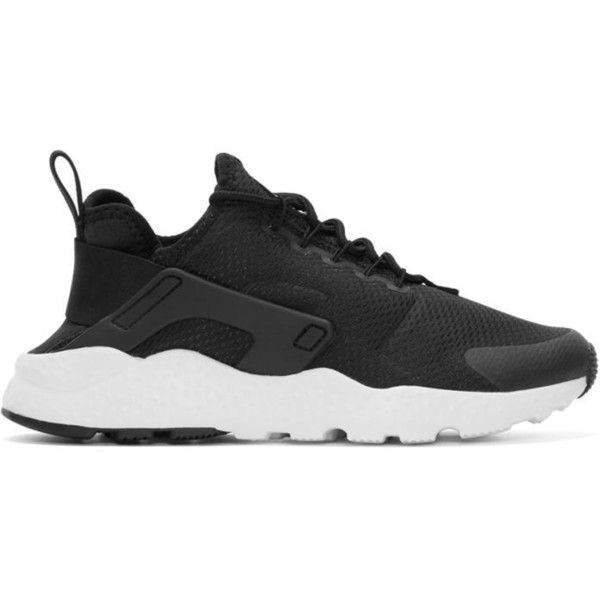 Nike Black Air Huarache Run Ultra Sneakers (350 RON) ❤ liked on Polyvore featuring shoes, sneakers, black, black shoes, laced up shoes, black low top sneakers, black laced shoes and mesh shoes
