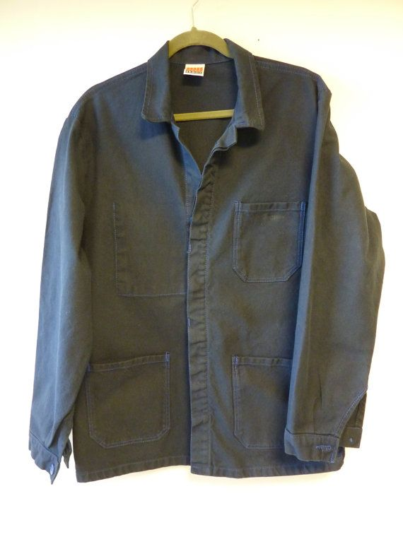 new to Workwear page! Vintage French dark blue chore jacket. This is new deadstock, unworn but has been washed to soften up the fabric. Great condition. Interior