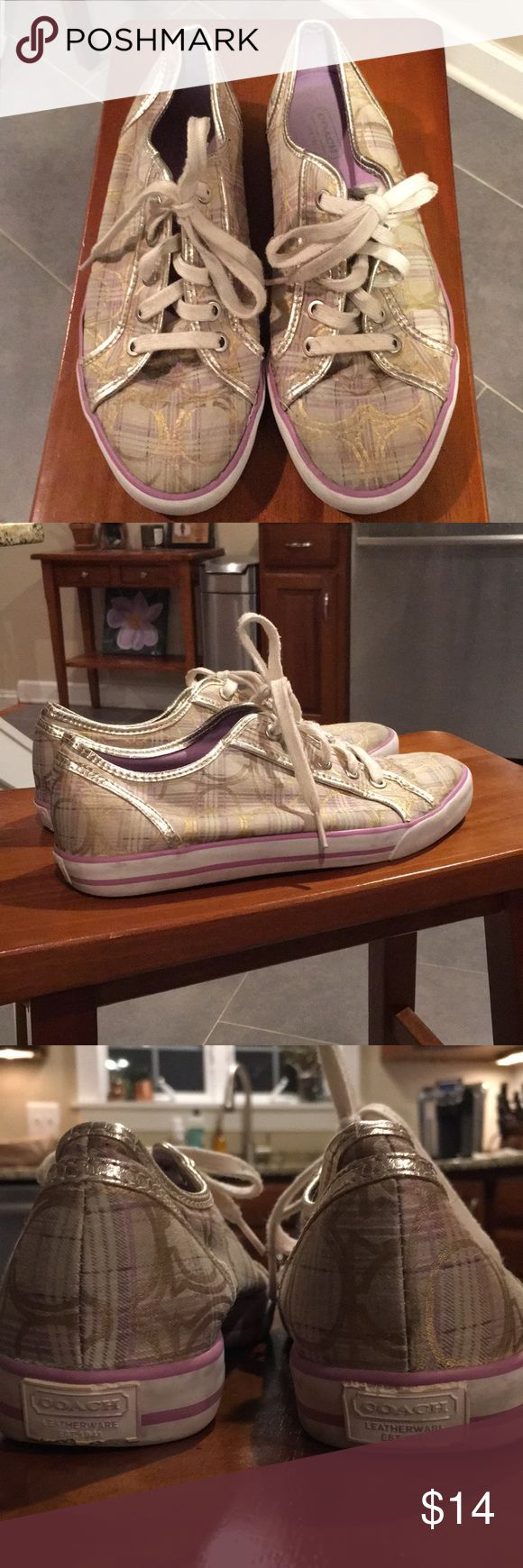 Coach tennis shoes Coach 'Dee' tennis shoes. Canvas beige with gold piping and lavender interior and strips along soles. Good used condition👍 Coach Shoes Sneakers