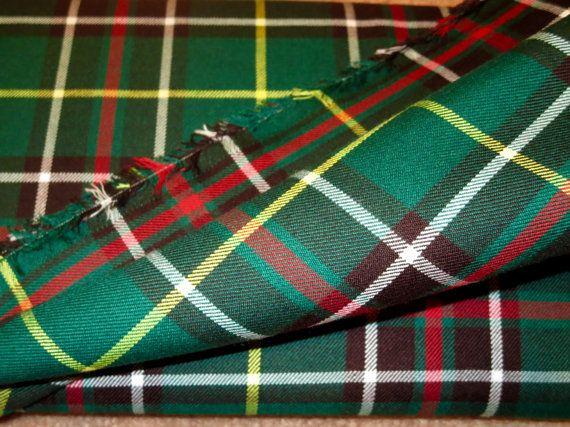 NewFoundland Tartan Plaid Fabric By YardGreen Red by SOHOSKIRTS