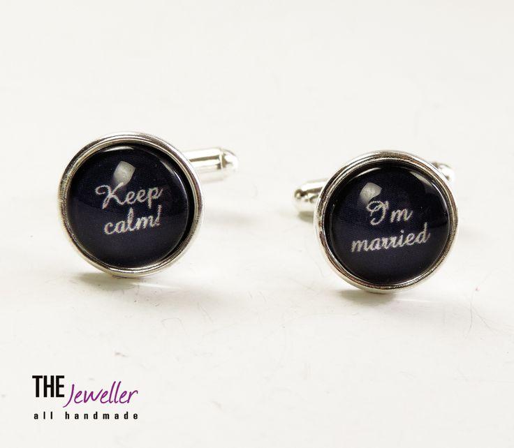 Butoni personalizaţi KEEP CALM I'M MARRIED placaţi cu argint bleumarin #http://www.pinterest.com/giuliajewellery/