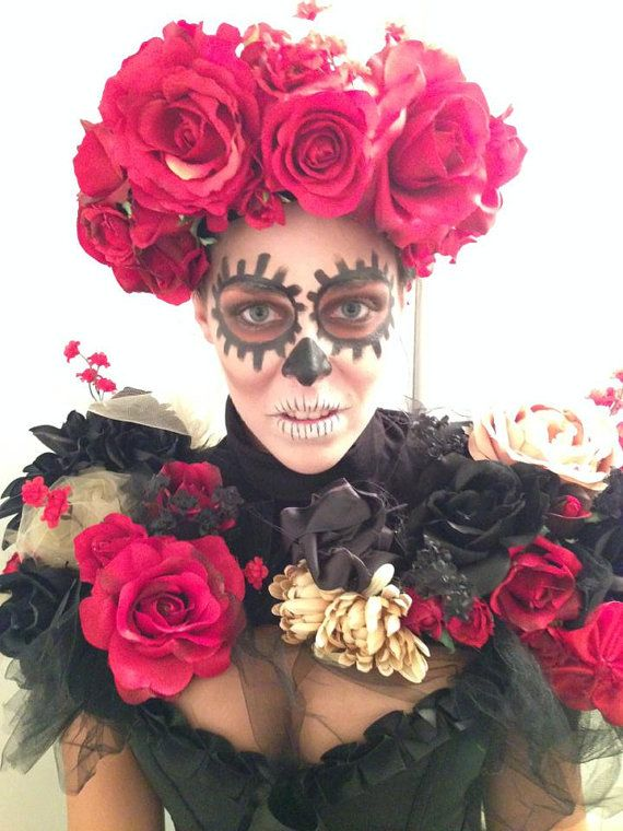Day of the Dead Dia De Los Muertos Halloween Burning Man Flower Head Piece