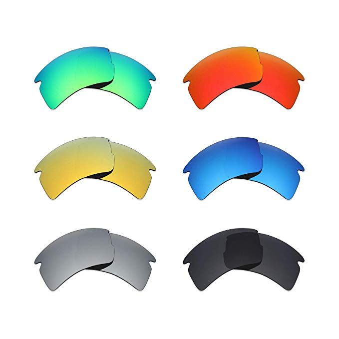 094bbd1832 Mryok 6 Pair Polarized Replacement Lenses for Oakley Flak 2.0 XL Sunglass -  Stealth Black Fire Red Ice Blue Silver Titanium Emerald Green 24K Gold  Review