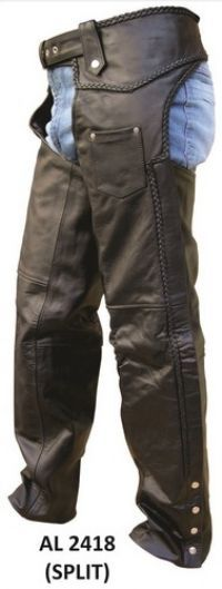 Allstate Single Outer Pocket Braided Split Leather Mens Motorcycle Chaps comes in solid black are made of split leather with one outer pocket for maximum carrying, an attached half belt for size adjustment with silver tone hardware and braided seams for the most stylish look, and are fully trimmable for the most comfortable / accurate fit.
