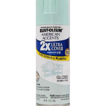 Rust Oleum American Accents Ultra Cover 2x Gloss Ocean Mist Spray Paint And Primer In 1 12 Oz Blue Mist Spray Spray Painting Paint Drying