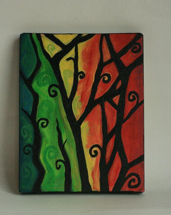 Orgánica pintura acrílico remolinos Original 8 por MissBeezyDesigns