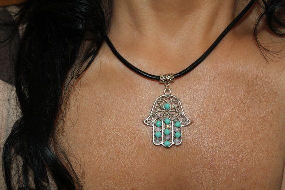 Hamsa necklace Charm necklace evil eye jewelry silver by SuesArts