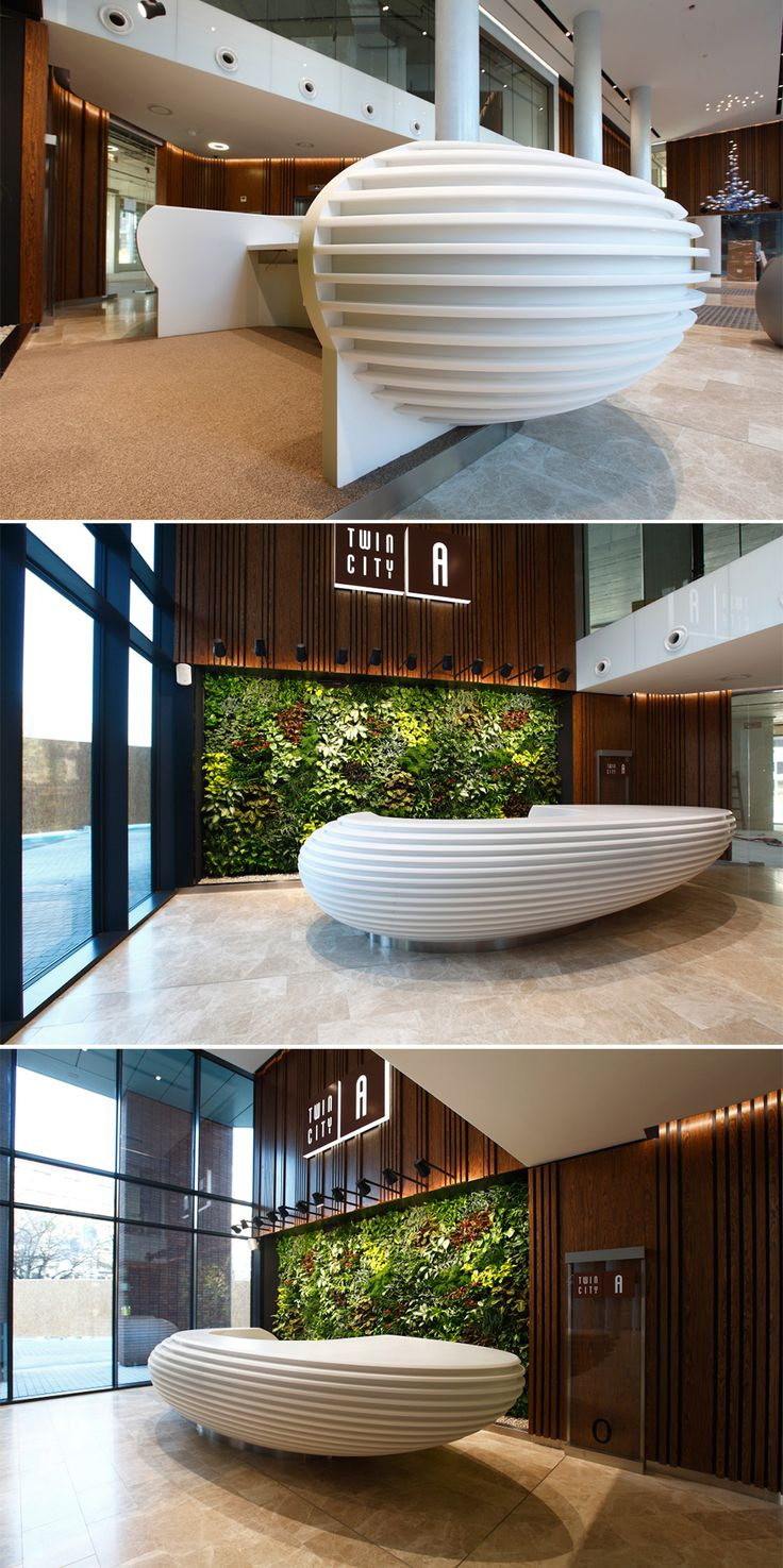 Massive reception desk in HI-MACS®, designed by Siebert + Talaš s.r.o Bratislava. ©Dano Veselský.
