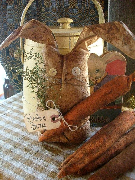 primitive easter | Primitive Easter Spring Bunny Rabbit Shelf SItter by ... | Hoppy East ...