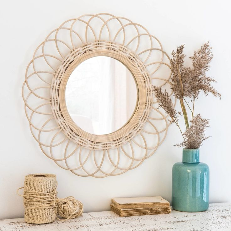 Specchio rotondo in bambù sbiancato, d. 60 cm | Maisons du Monde