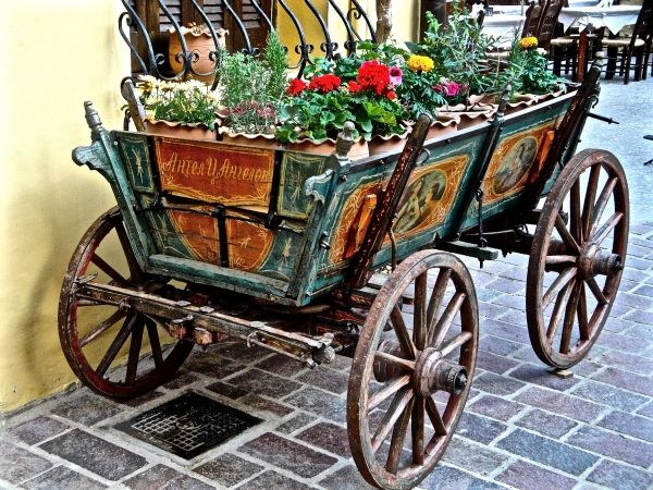 Chania Town, an unusual flower pot