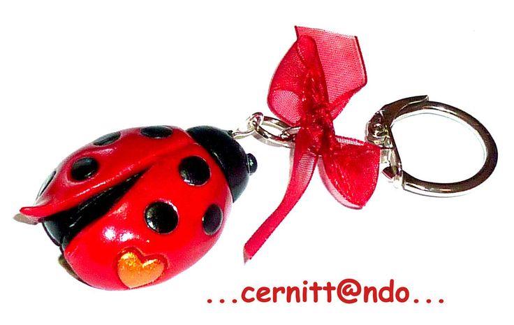 Polymer clay Ladybug keychain by cernittando.deviantart.com on @deviantART