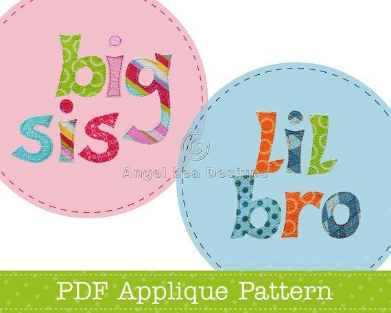 Lil Bro Big Sis Applique Template PDF Lettering by AngelLeaDesigns, $2.30