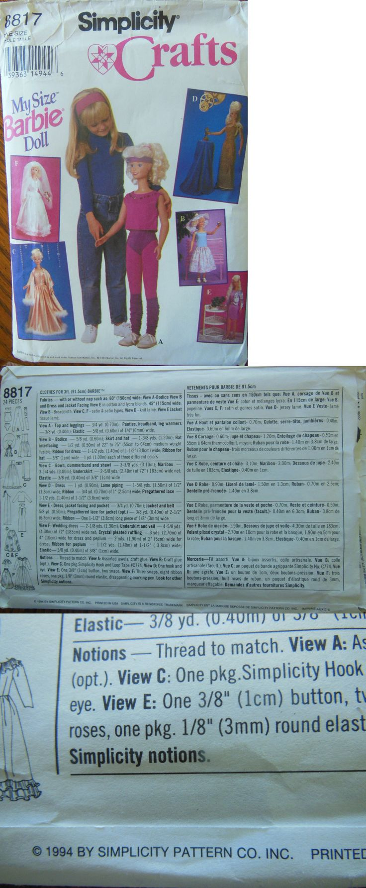 Sewing Patterns 28174: Original Uncut 1994 Simplicity #8817 3 Ft My Size Barbie Clothes Sewing Pattern -> BUY IT NOW ONLY: $34.99 on eBay!