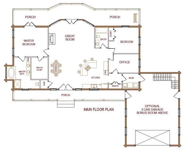 34 best images about small house plans on pinterest for Log cabin open floor plans