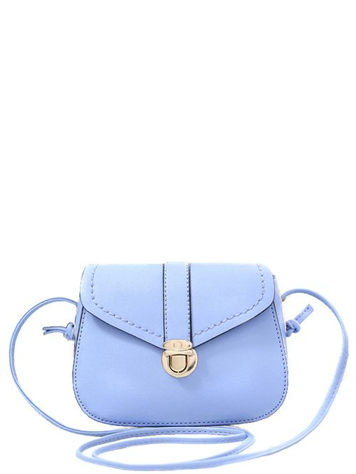 Solid Color Push Lock Crossbody Bag