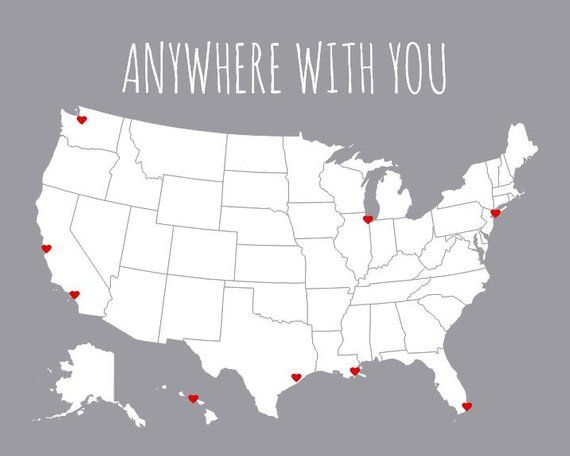 Couples Travel Map | First Anniversary Gift for Boyfriend | Gift for Him | US Map | United States Wh