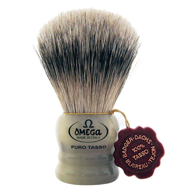 Omega 599 Short Silvertip Badger Shaving Brush - Marble-Patterned Resin