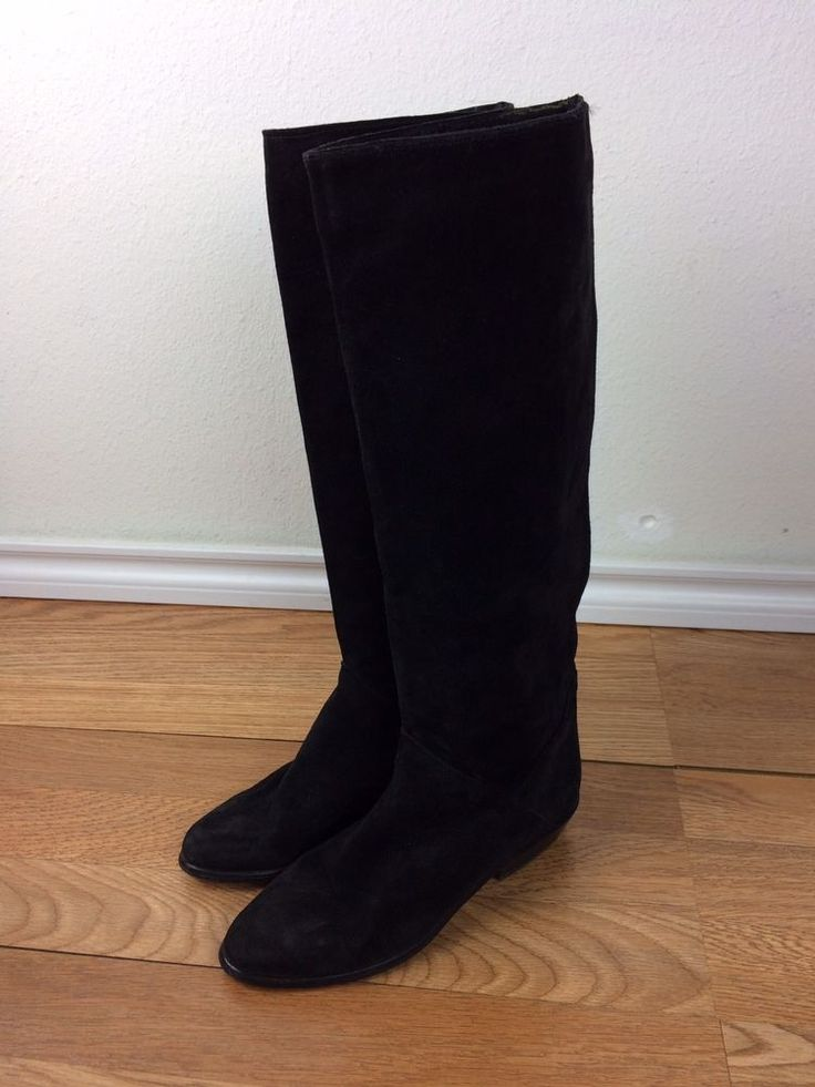 Vintage 1980s Black Suede Boots Sz 6.5 Made in Italy Saks Fifth Avenue Knee High #SaksFifthAvenue #Boots