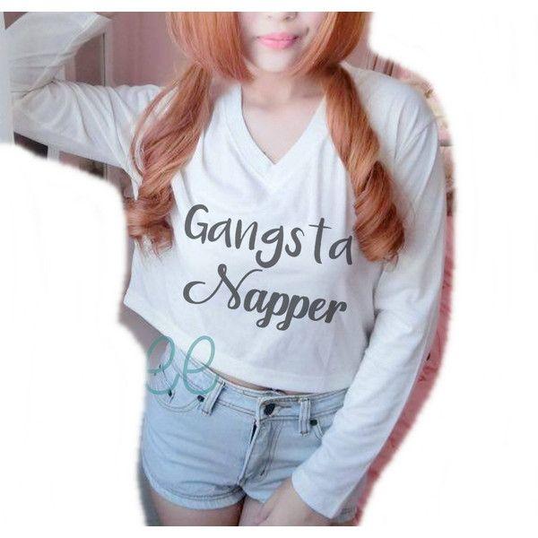 Gangsta napper tshirt Cream Long sleeve crop shirt S M L XL women... ❤ liked on Polyvore featuring tops, cropped long sleeve shirt, cut-out crop tops, blue shirt, long sleeve tops and cropped tops