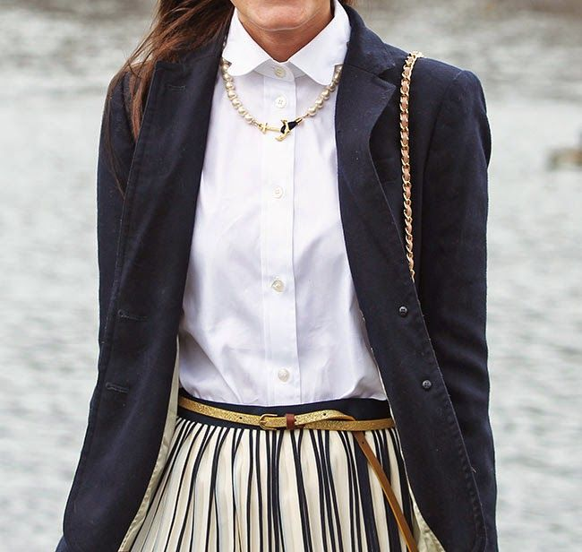 Navy Blazer, Pleated Skirt