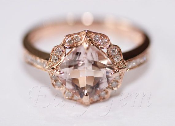 I love the morganite and the vintage look!! Vintage Morganite and Diamond Ring /Morganite ring/Morganite engagement ring/aquamarine/morganite/Moissanite /Engagement Ring on Etsy, $549.00