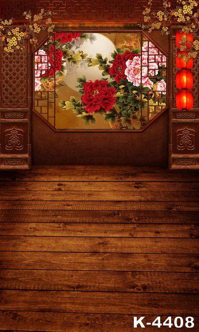 Photo Studio Backdrop Photography Backdrop Cloth Photo Background 220Cm * 150Cm Wooden Floor The Windows Peonies