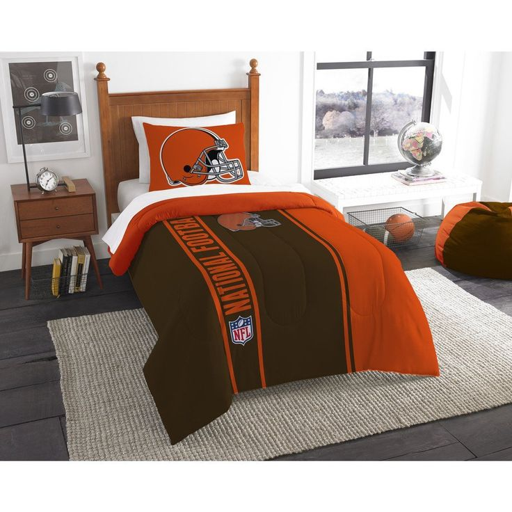 Single Piece NFL Twin Cleveland Browns Applique Football Team Comforter, Sports Fan Bedding, Football Themed, Featuring Team Logo, Brown, Orange, White, Browns Merchandise, Team Spirit, Polyester //Price: $114.81 & FREE Shipping //     #hashtag3