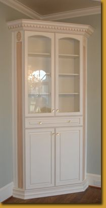 built in corner cabinet in dining room