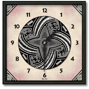 Pueblo Pot #1 Square Metal Wall Clock - From our Southwestern Clocks category, this clock features art work inspired by traditional Native American pottery designs.  $50.00