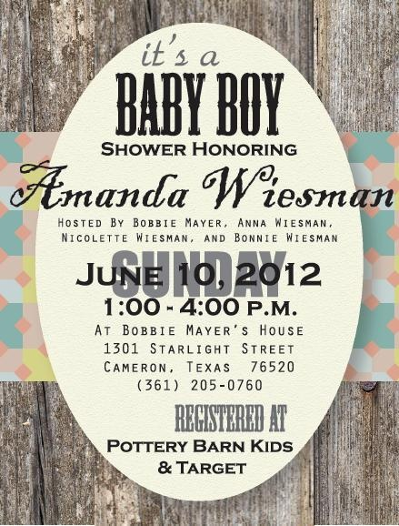 Rustic baby shower invite  if you would like to order your custom invite please contact me at ccbmayer@aol.com
