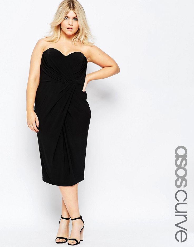 Image 1 ofASOS CURVE Drape Asymmetric Hem Twist Bandeau Dress