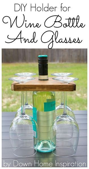 This is so easy! Check out how to make your own DIY holder for a wine bottle and glasses!
