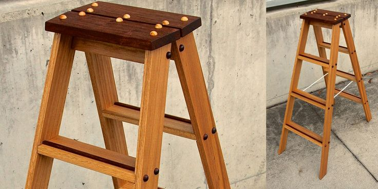 Library Ladder made from Blackbutt and New Guinea Rosewood by James Reid (Marland Design)