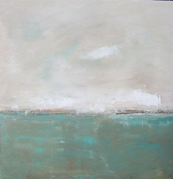 Landscape Seascape Original Painting on Canvas- Lakeside 20 x 20