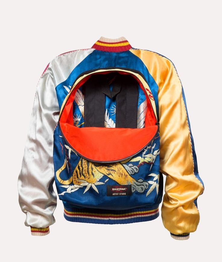 Throwback to the 2014 edition of our Artist Studio project and this unique work of art created by Jean Paul Gaultier out of 3 vintage Japanese embroidered silk garments: A reversible bomber jacket that transforms into a backpack and back again. #eastpak #artiststudio2016 #designersagainstaids #throwback