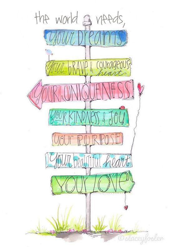 Encouraging girls art print - Teen art - Graduation gift - School art - Children's art painting - Stacey Foster - Tween art - Teen room