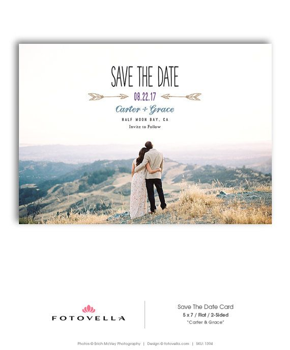 Save The Date Template - Wedding Announcement Template - 5x7 Card  - CARTER & GRACE - 1394
