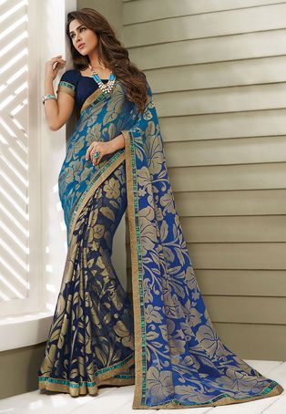 Blue and Dark Blue Faux Georgette Brasso Saree with Blouse