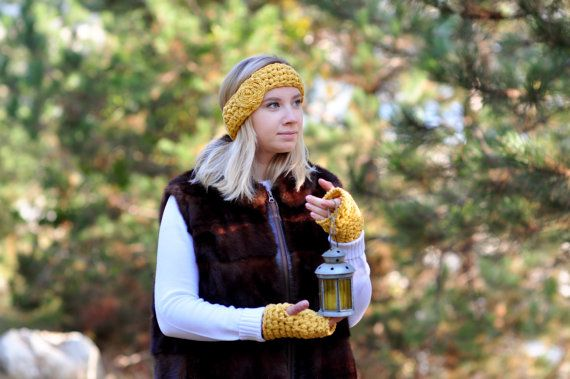 Cabel Knit Yellow Cotton Headband and Mittens Set for Women, Ear Warmer Headband and Fingerless Mittens Set, Christmas Present