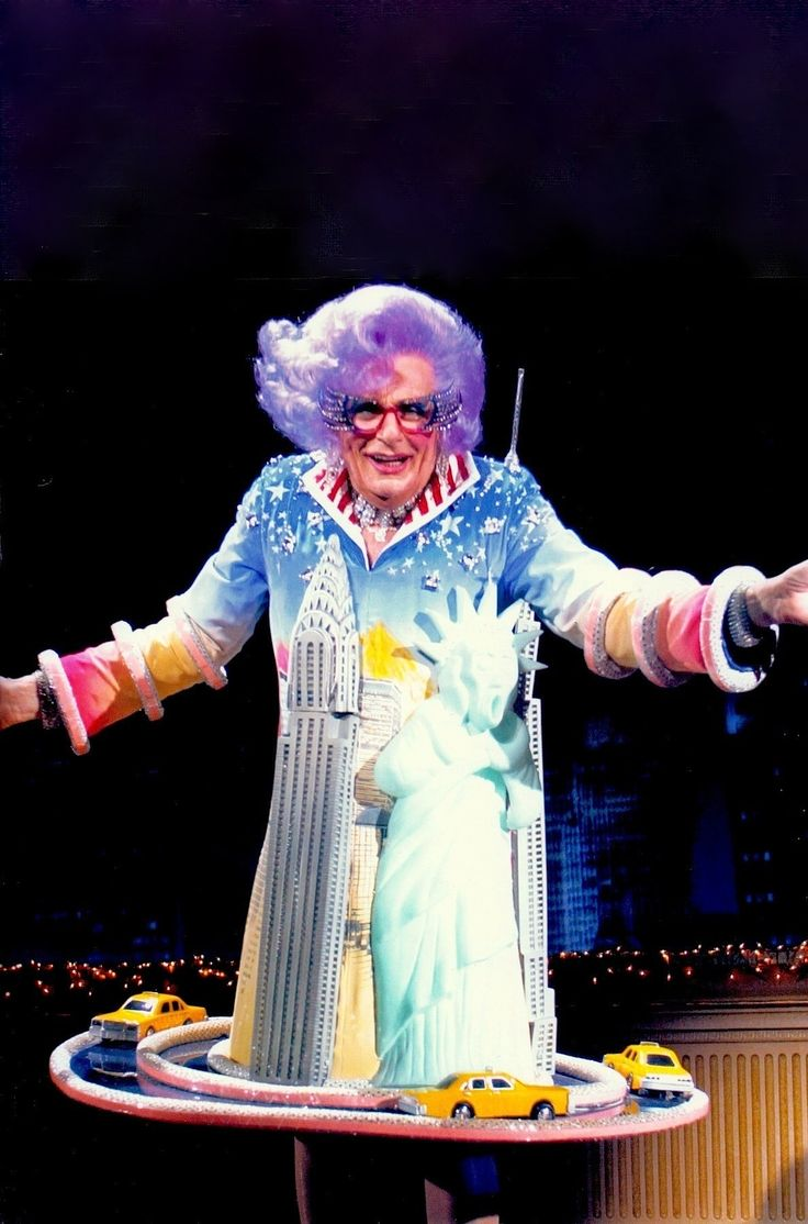 """DAME EDNA EVERAGE """"I was born with a priceless gift : the ability to laugh at the misfortunes of others"""" on Broadway in Dame Edna Back With  A Vengeance , 2004. From 'Moonee Ponds to Broadway' by Keith Dunstan 2006 (please follow minkshmink on pinterest) #dameedna #barryhumphries"""
