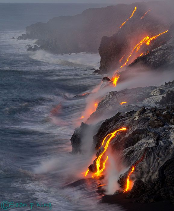 The lava started flowing above ground into the Pacific Ocean just a few days before we got there to see it. Before then it was flowing under the surface of the water and out of sight.