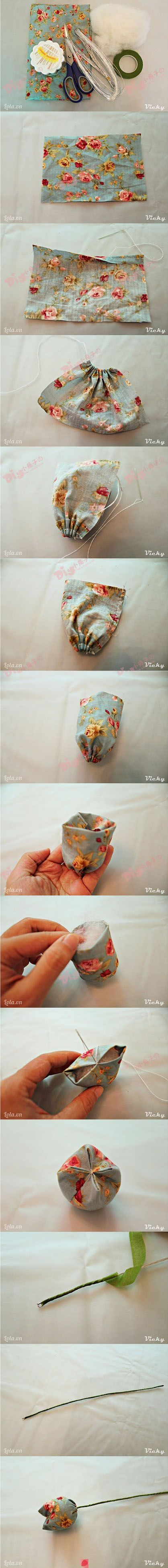 sewing tutorial for fabric flower ♥