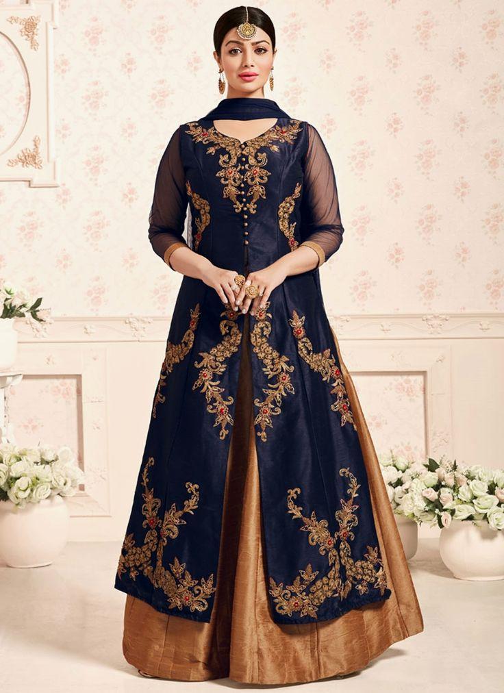 Buy latest designer wedding lehenga choli for wedding and party wear. Shop this floral Ayesha Takia embroidered and resham work long choli lehenga