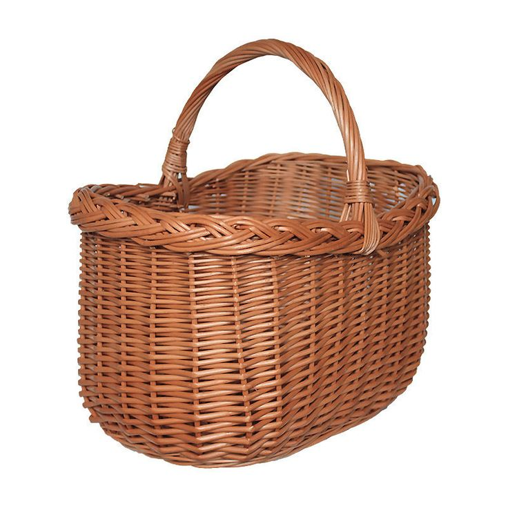 Oval Scooped End Wicker Shopping Basket with plaited rim 40x29x36cm Handmade